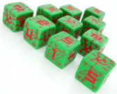 Green & Red Battle D6 Soviet Dice Set